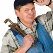 Portrait of workman with tool over white — Stock Photo #1230391