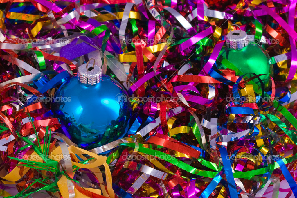 Christmas still life with colored balls — Stock Photo #1231605