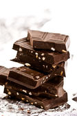 Slab chocolate with nut — Stock Photo