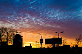 Şehir günbatımıjuguete con estilo — Stok fotoğraf