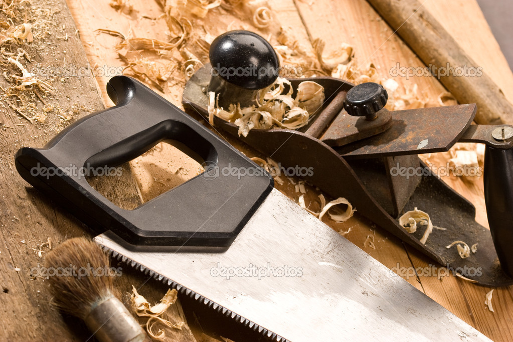 Set of carpenters tool on tne wood and shavings — Stock Photo #1282224