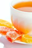 Frucht-gelee und tee — Stockfoto