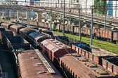 Transportation series: railroad freight terminal with car — Stock Photo