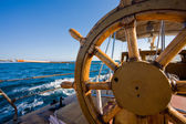 Yacht journey, steering wheel — Foto Stock