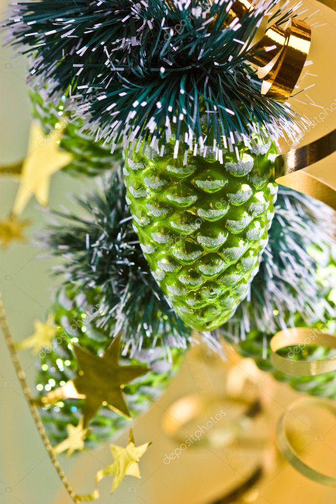 Holiday series: close up of green cone-shaped christmas decoration — Stock Photo #1293960