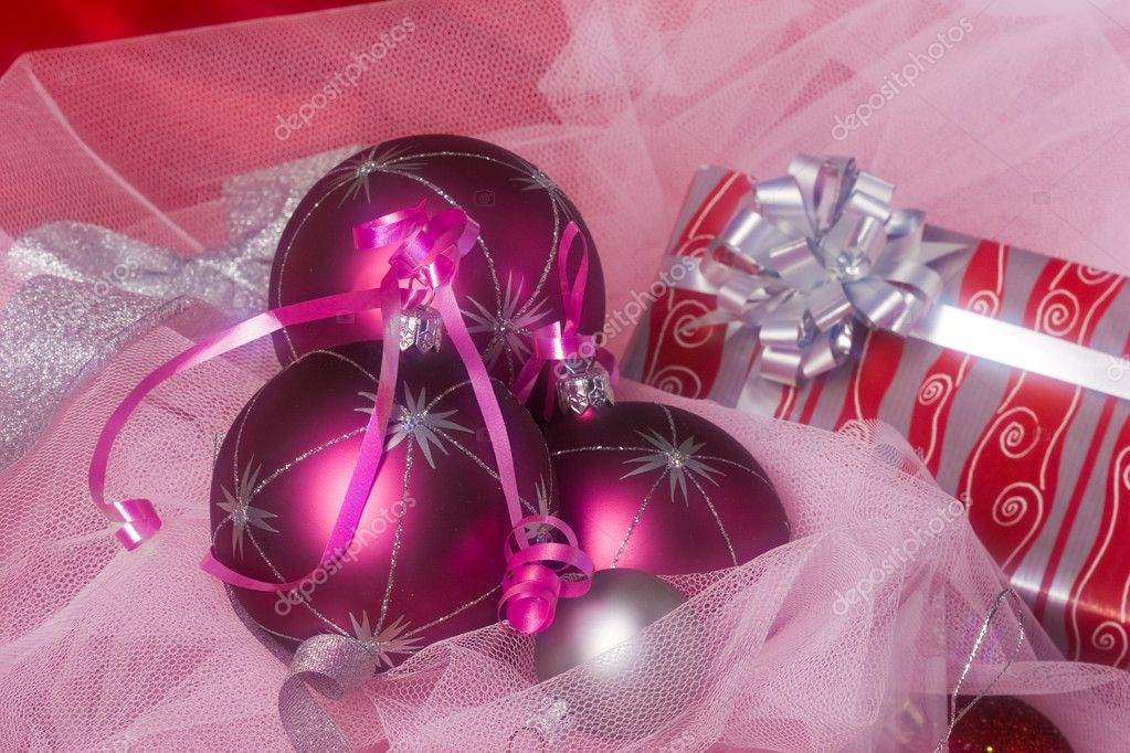 Christmas series: still life with holiday`s balls — Stockfoto #1295231