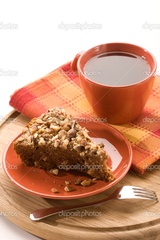 Honey cake with nuts on the plate  Stock Photo #1318324