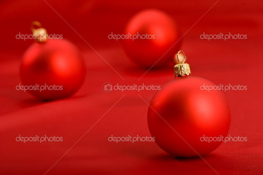 Holiday series: still life with red christmas balls  Foto de Stock   #1359661
