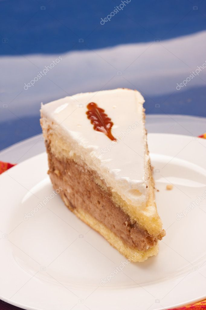 Food serie: sweet fancy cake with cream and jam — Stock Photo #1390889