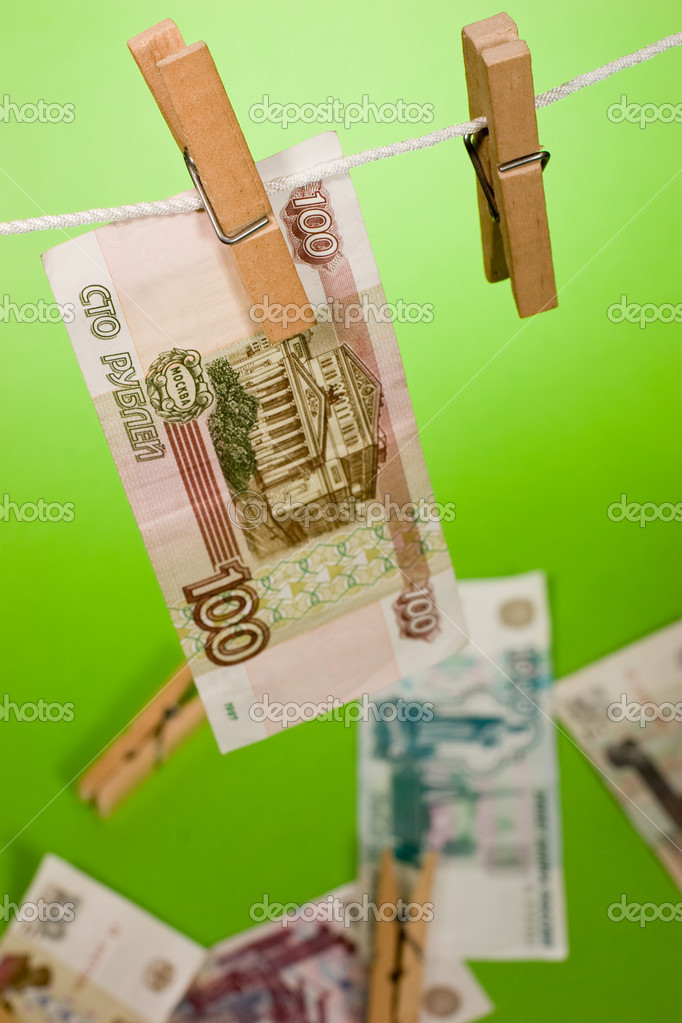 Russian bank note wear out over green background — Stock Photo #1396751
