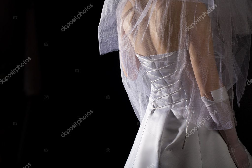 Young women in the veil and white dress — Stock Photo #1429782