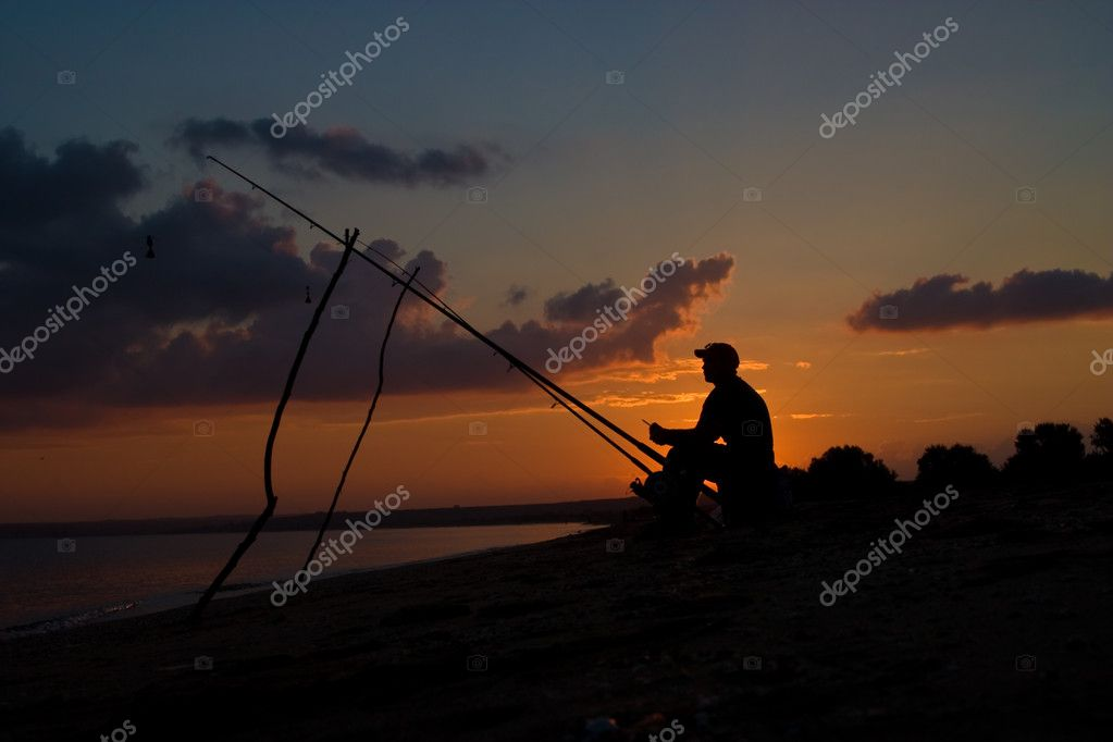 Series: fisherman sit on the beach of sea — Stock Photo #1447414