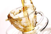 Golden stream of tea — Foto Stock