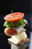 Light snack - cheese sandwich — Stok fotoğraf