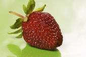 Isolated strawberry over green — Stock Photo
