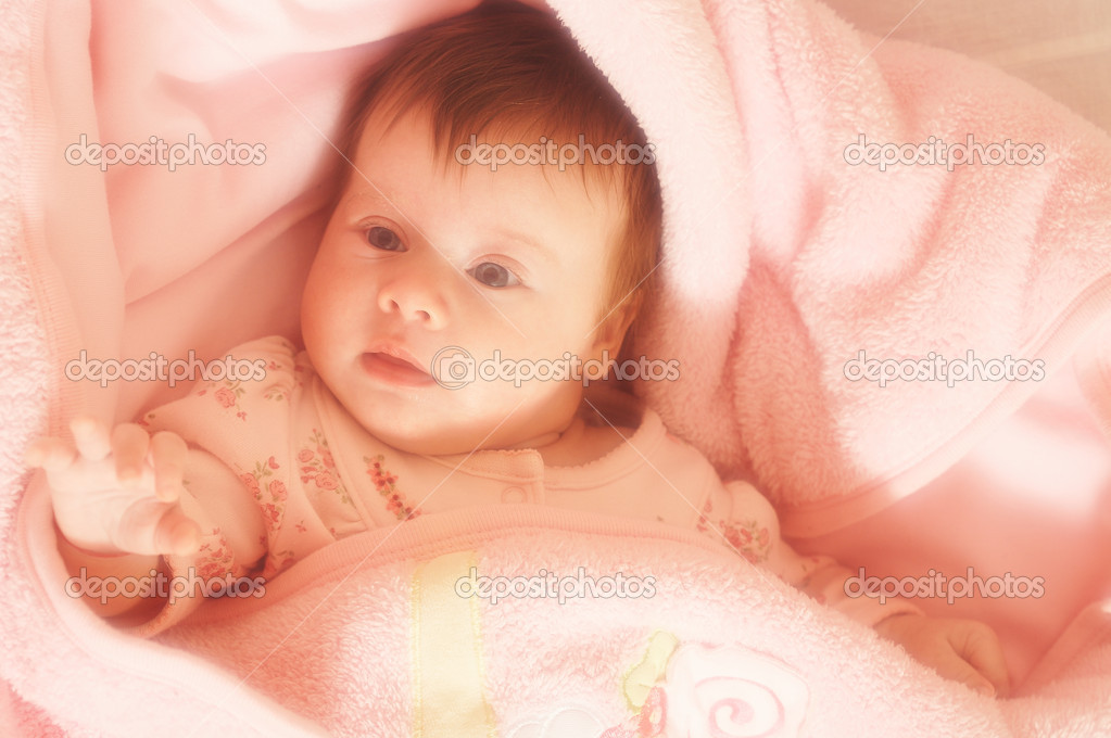 Portrait of little baby in pink colored, use soft filter — Stock Photo #1473659
