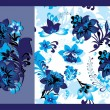 Blue floral seamless and floral elements — Stock Vector