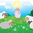 Stock Vector: Sheeps in pasture