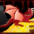 Red dragon in cave guarding treasures — Stock Vector