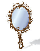 Mirror in floral frame — Vettoriale Stock