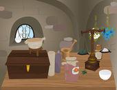 Medieval pharmacy — Stock Vector