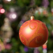 Christmas toy - beautiful ball with tree — Stock Photo