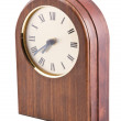 Close up of wooden clock isolated with p — Stock Photo