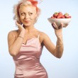 Woman with bowl with strawberry — Stock Photo