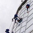 Group of workers washing windows in the — Stock Photo