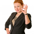 Woman in suit with Ok gesture — Stock Photo
