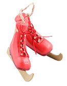 Red wooden decorative skates isolated on — Stock Photo