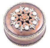 Close up of bronze box for jewel isolat — Stock Photo