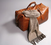 Brown leathe bag with scarf — Stock Photo