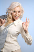 Woman with Ok gesture — Stock Photo