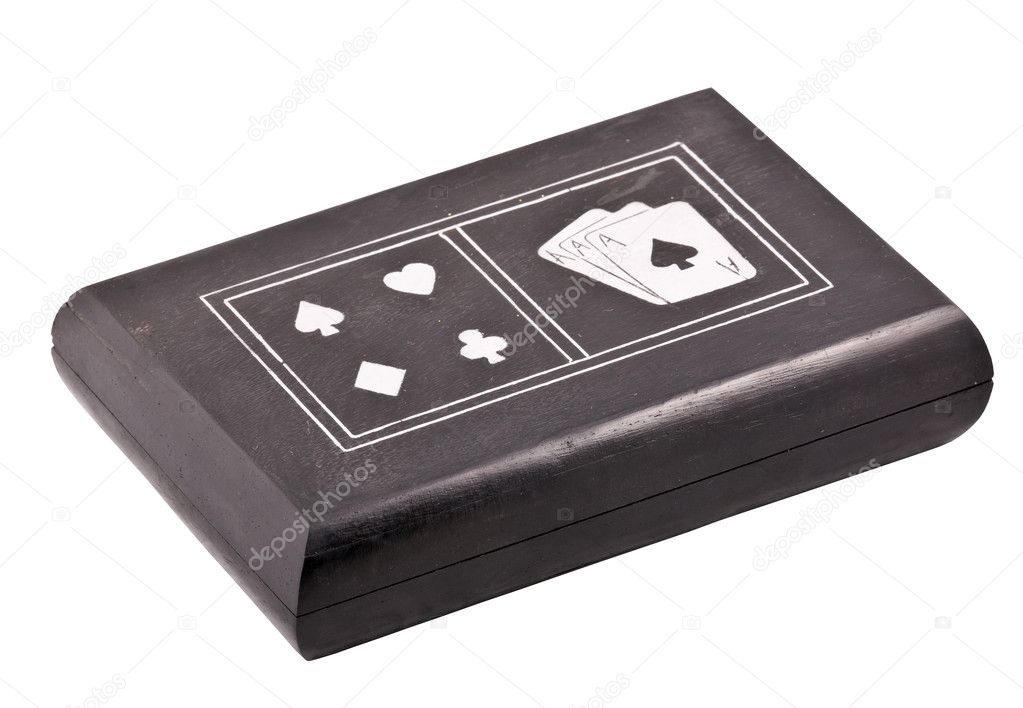 Close up of black box for playing cards isolated with clipping path on white background — Stock Photo #1272633