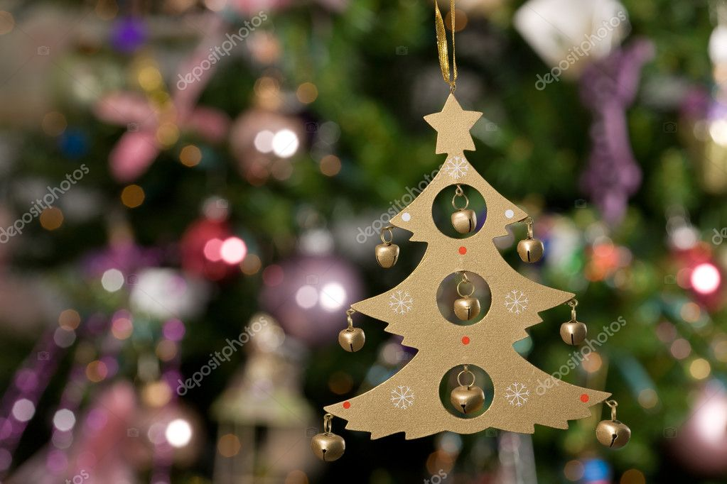 Christmas toy - wooden tree with green tree and lights on background 1 — Stock Photo #1272671