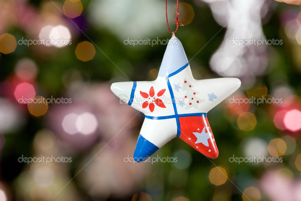 Christmas star with tree and lights on background 2  — Stock Photo #1272733