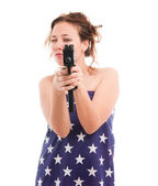Woman with uzi — Stockfoto