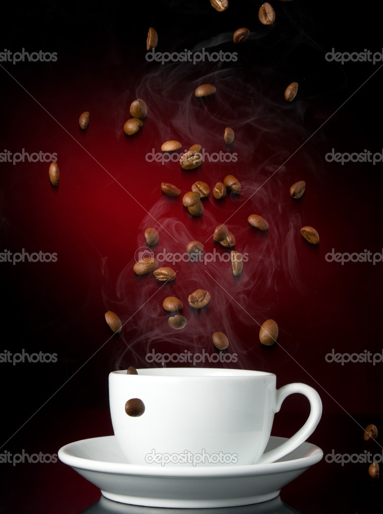 Cup of coffe on color background — Stock Photo #1824690