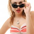 Woman wearing her sunglasses — Stock Photo #2477666
