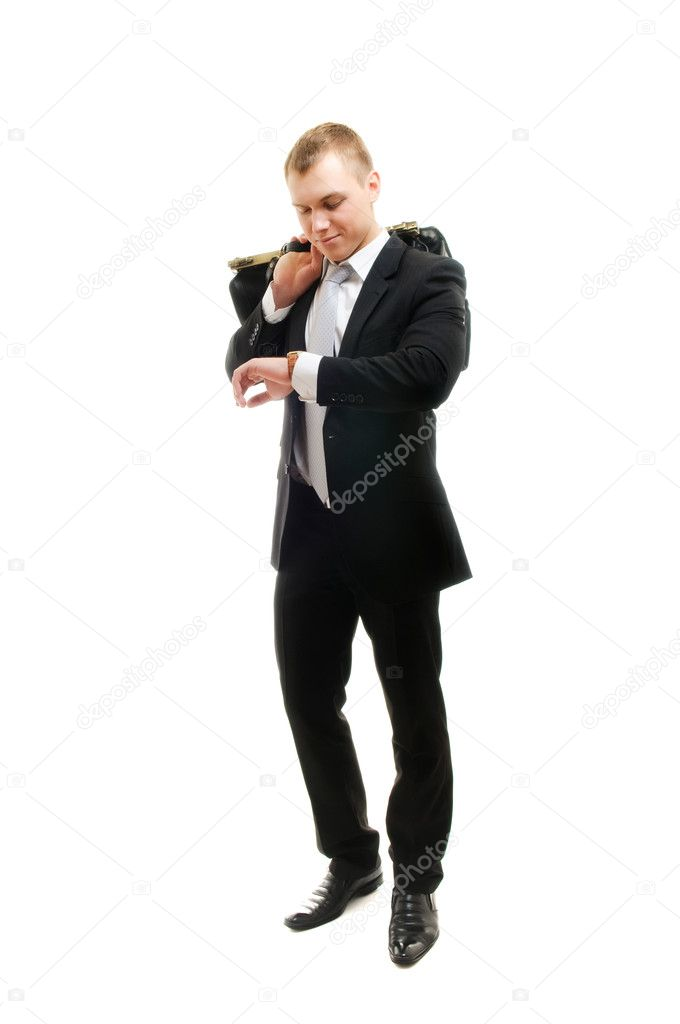Young businessman checking his watch. Isolated over white — Stock Photo #2624322