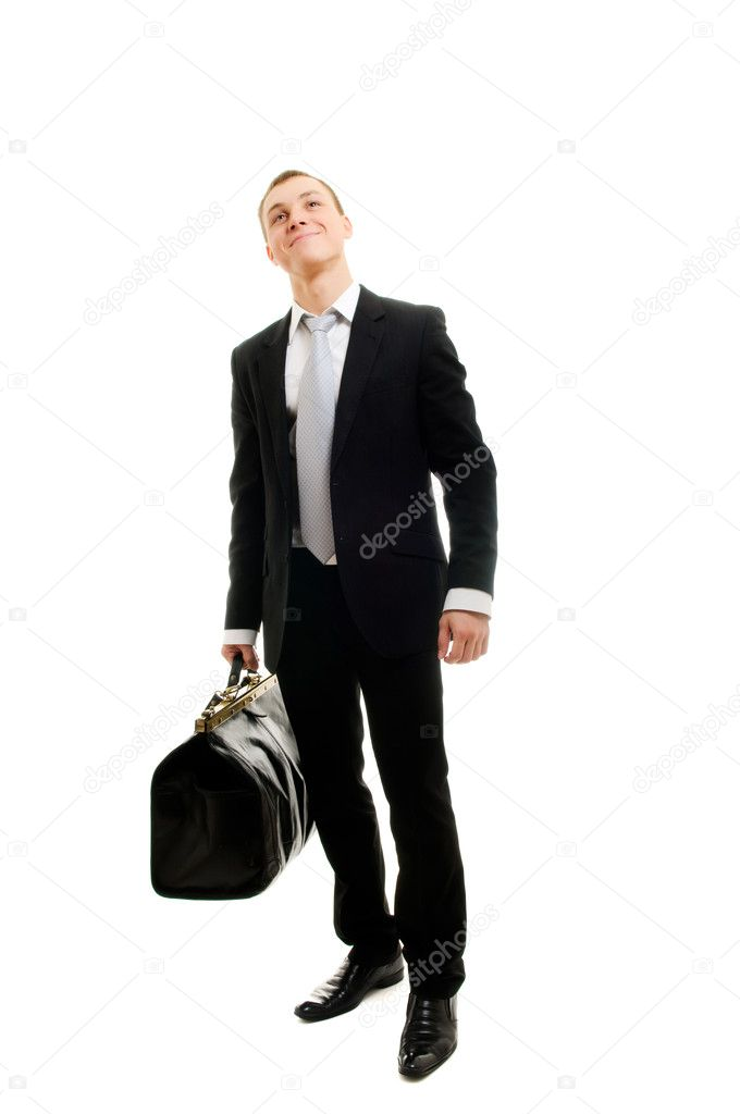 Handsome man with travelling bag. Isolated over white. — Stock Photo #2624334