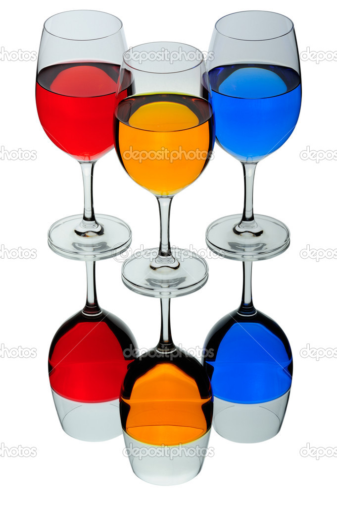 Three coloured wine glasses isolated on white — Stock Photo #1295237
