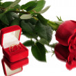 Red rose and wedding rings — Stok fotoğraf