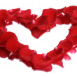 Stock Photo: Rose petal heart