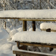 Stock Photo: Picnic table covered snow