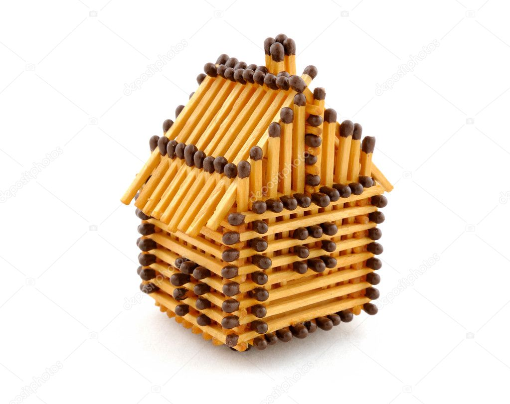 House from matches isolated on white — Stock Photo #1342988