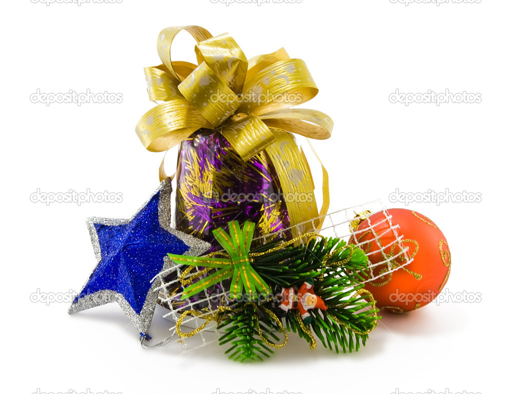Christmas star, Santa, ball and bell on white — Stock Photo #1221338
