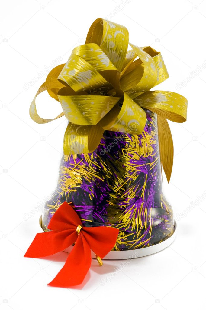 A bell-shaped box with bow and ribbon  Stock Photo #1232374