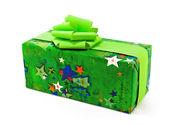 Green Gift on white — Stock Photo